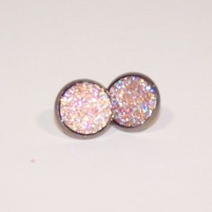 Pink faux druzy earrings